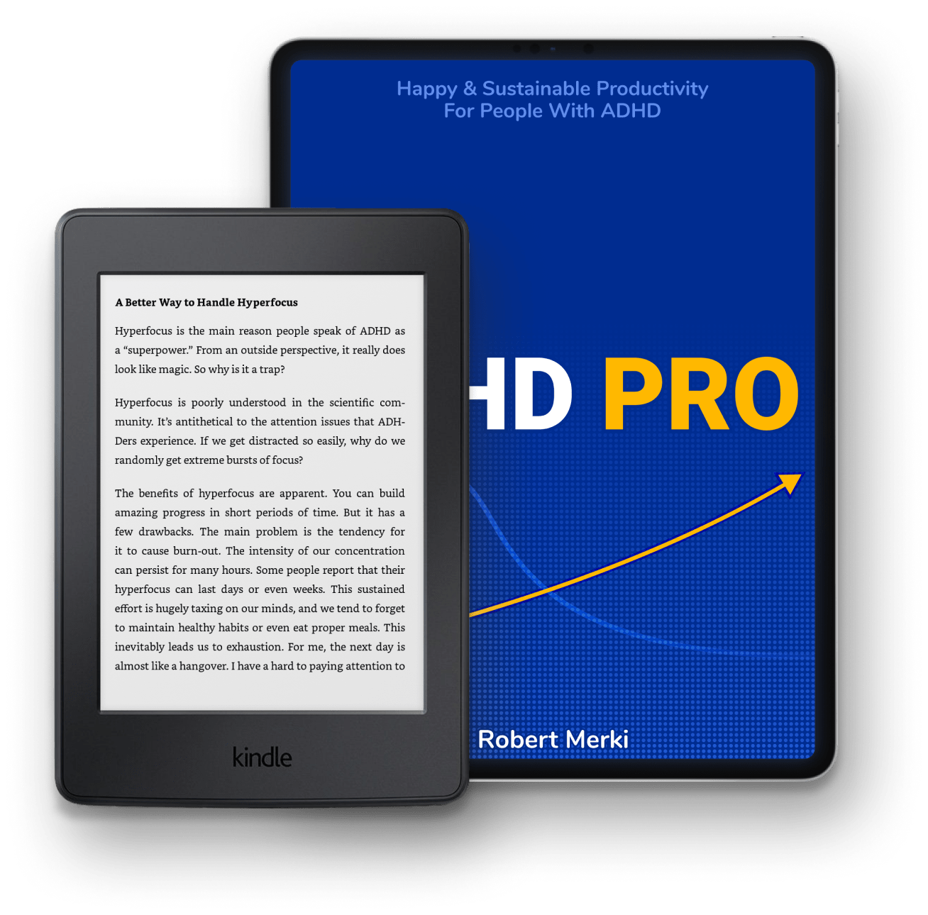 The ADHD Pro book, shown on some compatible devices such as the Kindle and iPad Pro